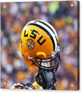 Lsu Helmet Raised High Acrylic Print by Louisiana State University