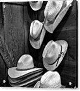 Luckenbach Hats Black And White Acrylic Print