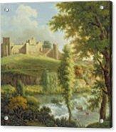 Ludlow Castle With Dinham Weir Acrylic Print by Samuel Scott