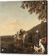 Ludolph De Jongh And Joris Van Der Hagen 1616 Rotterdam - Hillegersberg 1679 Or 1615 Hunting Party A Acrylic Print