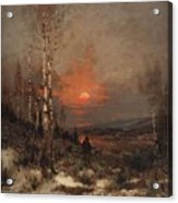 Ludwig Deutsch, Hunting In The Winter Acrylic Print