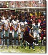 Luis Suarez Hits The Post Acrylic Print