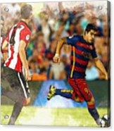 Luis Suarez Takes The Ball Past Athletic Bilbao's Eneko Boveda A Acrylic Print