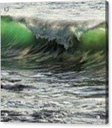 Luminous Evening Light Shines Through Incoming Waves At Hapuna Beach. Acrylic Print