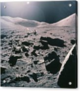 Lunar Rover At Rim Of Camelot Crater Acrylic Print by NASA / Science Source