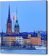 Lunar Teamwork Full Moon Rising Over Gamla Stan In Stockholm Acrylic Print