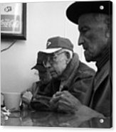 Lunch Counter Boys - Black And White Acrylic Print