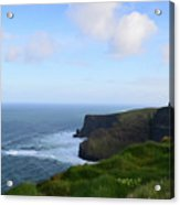 Lush Green Grass Along The Top Of The Cliffs Of Moher Acrylic Print
