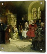 Luther Preaches Using His Bible Translation While Imprisoned At Wartburg Acrylic Print
