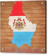 Luxembourg Rustic Map On Wood Acrylic Print