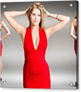 Luxury Female Fashion Model In Classy Red Dress Acrylic Print