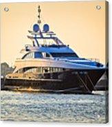 Luxury Yacht On Golen Sunset Acrylic Print
