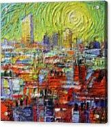 Lyon Sunrise Glow - Modern Impressionist Stylized Cityscape Acrylic Print