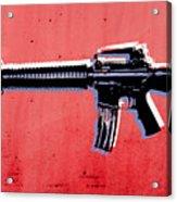 M16 Assault Rifle On Red Acrylic Print by Michael Tompsett