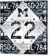 M22 Michigan Highway Symbol Recycled Vintage Great Lakes State License Plate Logo Art Acrylic Print by Design Turnpike
