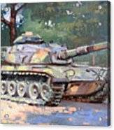 M60 A3 Desert Storm Tank- Plein Air Acrylic Print