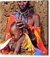 Maasai Grandmother And Child Acrylic Print