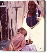 Maasai Woman And Child Acrylic Print