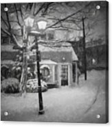Mablehead Market Square Snowstorm Old Town Evening Black And White Painterly Acrylic Print