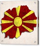 Macedonia Map Art With Flag Design Acrylic Print