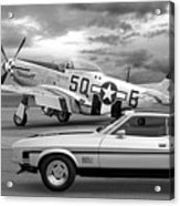 Mach 1 Mustang With P51 In Black And White Acrylic Print