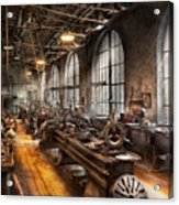 Machinist - A Room Full Of Lathes  Acrylic Print by Mike Savad