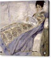 Madame Monet On A Sofa Acrylic Print by Pierre Auguste Renoir
