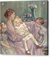 Madame Van De Velde And Her Children Acrylic Print by Theo van Rysselberghe