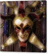 Madi Gras Mask And Beads Acrylic Print