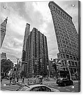 Madison Square Flatiron And Clock Tower New York Ny Black And White Acrylic Print