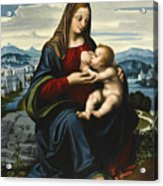 Madonna And Child Before A Landscape Acrylic Print