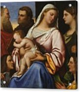 Madonna And Child With Saints And Donors Acrylic Print