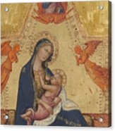 Madonna Of Humility The Blessing Christ Two Angels And A Donor Acrylic Print