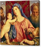 Madonna Of The Cherries With Joseph Acrylic Print