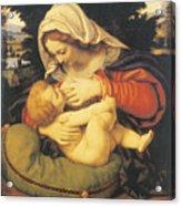 Madonna With The Green Cushion Acrylic Print by Andrea Solari