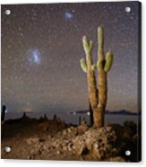 Magellanic Clouds And Forked Cactus Incahuasi Island Bolivia Acrylic Print