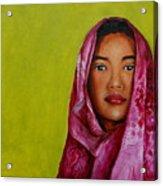 Magenta Girl Acrylic Print