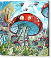 Magic Mushroom Forest Acrylic Print