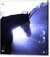 Magic Unicorn In Blue Acrylic Print
