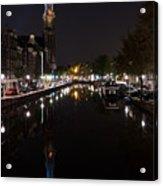 Magical Amsterdam Night - Blue Crown Skyline Acrylic Print