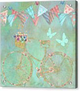Magical Bicycle Tour Enchanted Happy Art Acrylic Print
