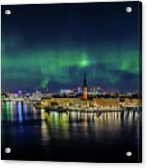 Magnificent Aurora Dancing Over Stockholm Acrylic Print