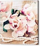 Magnolia Flowers With Pearls Acrylic Print