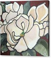Magnolias Under Glass Acrylic Print