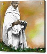 Mahatma Ghandi Acrylic Print by C A Soto Aguirre