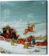 Mail Coach In The Snow Acrylic Print by John Pollard