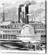 Mail Steamboat, 1854. /nthe Louisville Mail Company Steamboat Jacob Strader. Wood Engraving, 1854 Acrylic Print