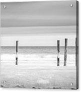 Main Beach Pilings Bw Acrylic Print by Ryan Moore