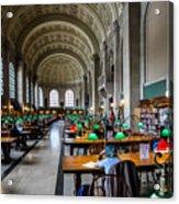 Main Reading Room Of Boston Public Library Acrylic Print