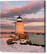Maine Bug Light Lighthouse Snow At Sunset Acrylic Print